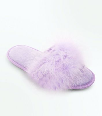 Lilac Faux Feather Strap Slider Slippers New Look