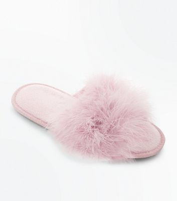Pink Faux Feather Strap Slider Slippers New Look