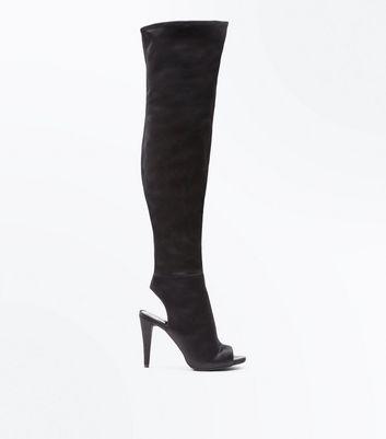 Wide Fit Black Satin Over the Knee Peep Toe Heels New Look