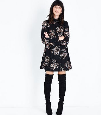 AX Paris Black Floral Print Funnel Neck Dress New Look