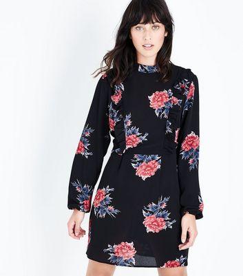 AX Paris Black Floral Print Funnel Neck Dress New Look
