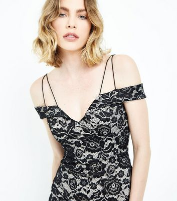AX Paris Black Lace Strappy Bardot Neck Dress New Look
