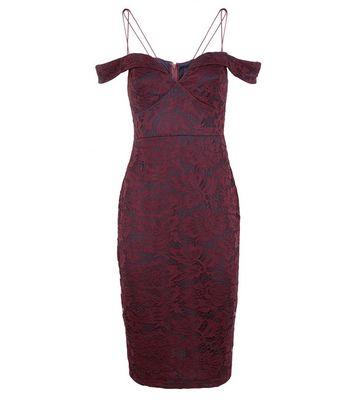 AX Paris Plum Lace Strappy Bardot Neck Dress New Look