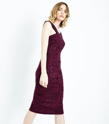 AX Paris Purple Lace Cross Front Midi Dress New Look