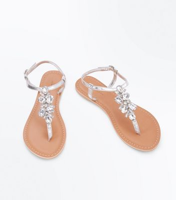 Silver Leather Gem Embellished Toepost Sandals New Look