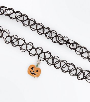 Black Halloween Pumpkin Tattoo Choker New Look