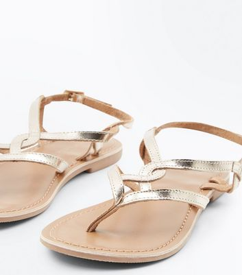 Gold Leather Woven Strap Toe Post Sandals New Look