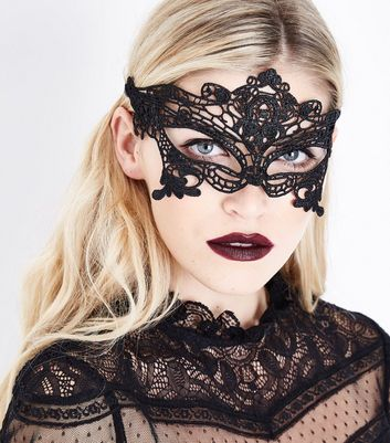 Black Lace Mask New Look
