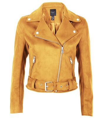 Petite Mustard Yellow Suedette Biker Jacket New Look