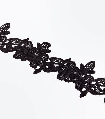 Black Floral Lace Choker New Look