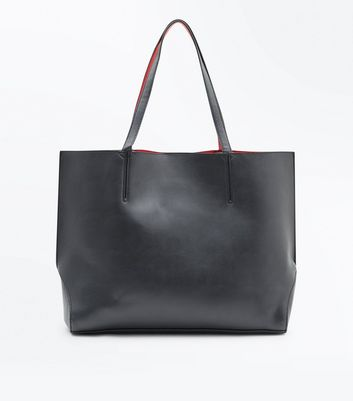 Red Contrast Pocket Front Tote Bag New Look