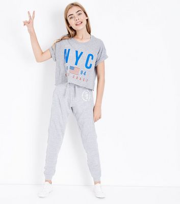 Teens Grey NYC Logo Front Joggers New Look