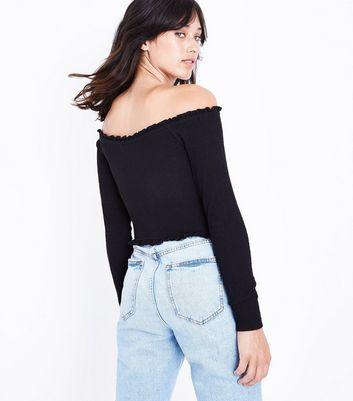 Black Crepe Frill Bardot Neck Top New Look