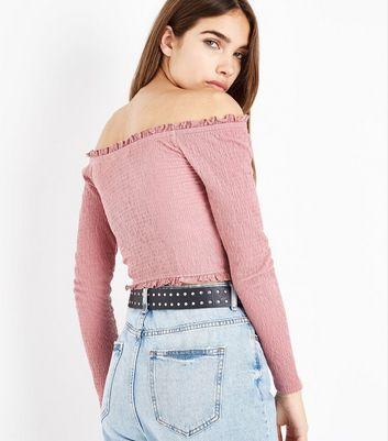 Pink Crepe Frill Bardot Neck Top New Look