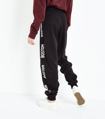 Teens Black Boston Printed Side Joggers New Look