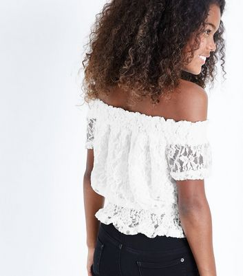 Teens Cream Lace Shirred Waist Bardot Top New Look