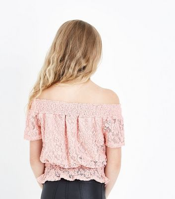 Teens Pink Lace Shirred Waist Bardot Top New Look