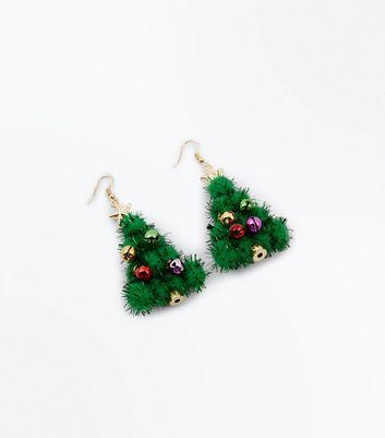 Christmas Tree Tinsel Earrings New Look