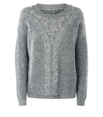 Mela Grey Pearl Embroidered Neck Jumper New Look