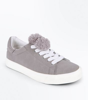Teens Grey Pom Pom Top Lace Up Trainers New Look