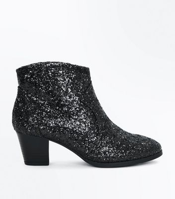 Girls Black Glitter Western Boots