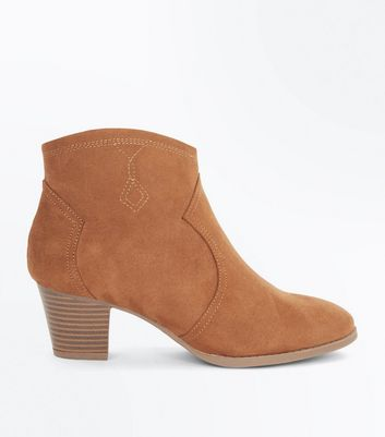 Teens Tan Suedette Heeled Western Boots New Look