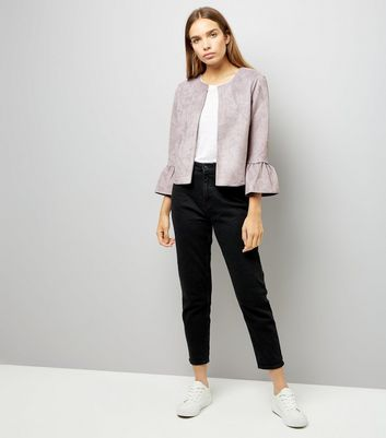 Pale Grey Bell Sleeve Suedette Jacket New Look