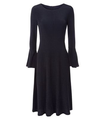 Mela Black Glitter Bell Sleeve Midi Dress New Look
