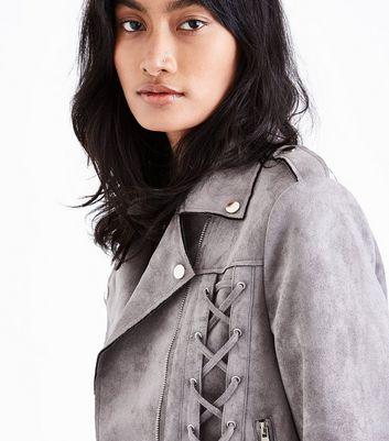 Grey Suedette Lace Up Biker Jacket New Look