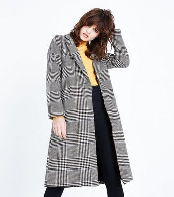 Black Check Longline Coat New Look