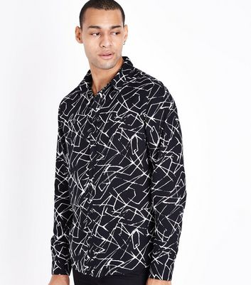 Black Lightning Print Long Sleeve Shirt New Look