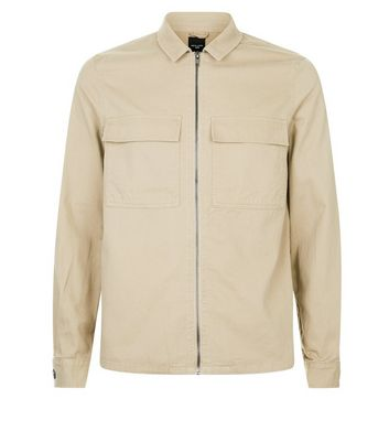 Tan Zip Through Shacket New Look