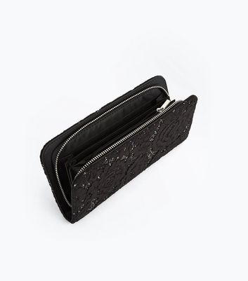 Black Glitter Lace Zip Around Purse New Look