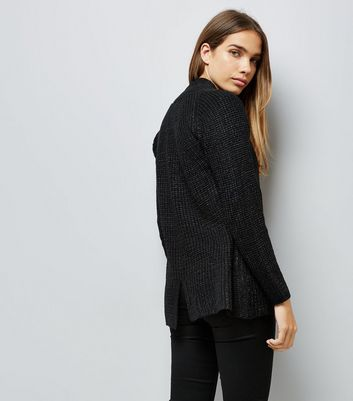 Mela Black Knitted Cardigan New Look