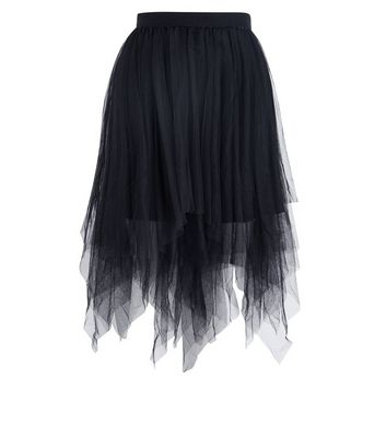 Black Tulle Hanky Hem Midi Skirt New Look