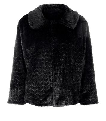 Mela Black Faux Fur Jacket New Look