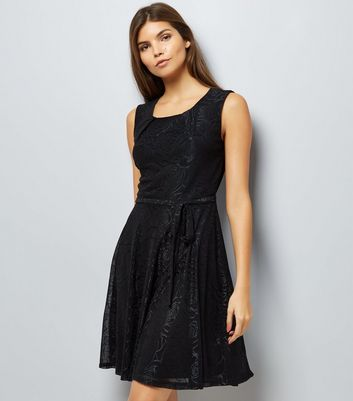 Mela Black Floral Embossed Skater Dress New Look