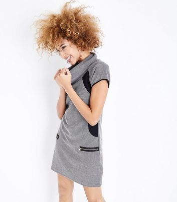 Mela Grey Cowl Neck Zip Pocket Dress New Look