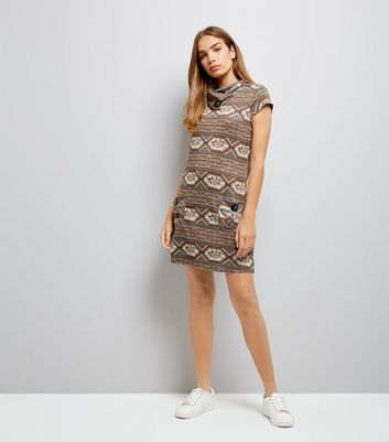 Mela Brown Abstract Print Tunic Dress New Look