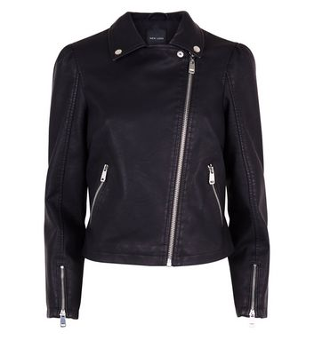 Black Puff Shoulder Leather-Look Jacket New Look