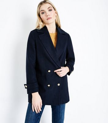 Navy Double Breasted Pea Coat New Look