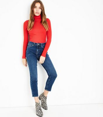 Blue Rinse Wash Cropped Jeans New Look