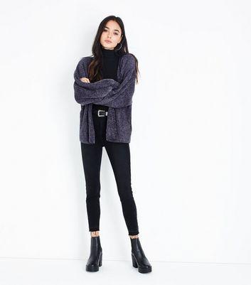 Dark Grey Chenille Balloon Sleeve Cardigan | New Look