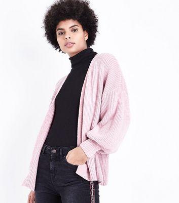 Pink Chenille Balloon Sleeve Cardigan New Look