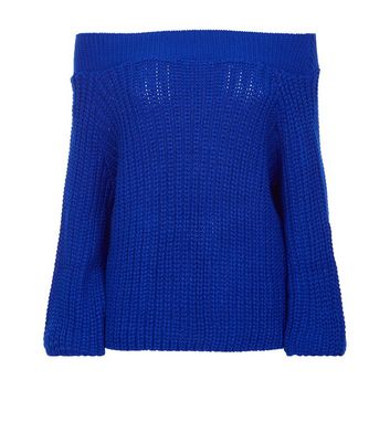 Blue Ribbed Balloon Sleeve Jumper New Look