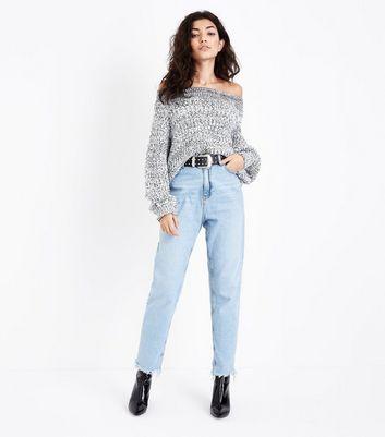 White Twist Yarn Bardot Neck Jumper New Look