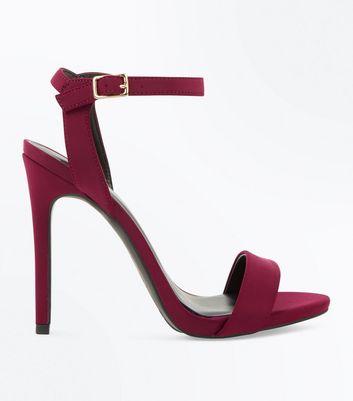 Burgundy Satin Stiletto Heel Sandals New Look