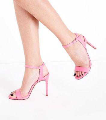 Bright Pink Satin Stiletto Heel Sandals New Look