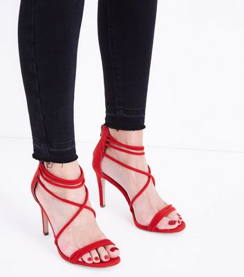 Red Suedette Tube Strap Stiletto Sandals New Look