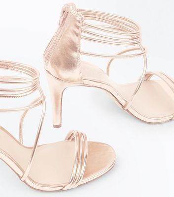 Rose Gold Metallic Tube Strap Stiletto Sandals New Look